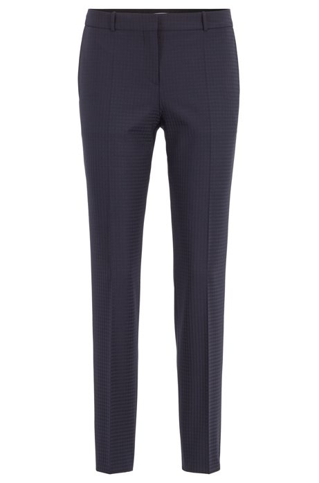 Regular-fit pants with shadow check in Italian fabric, Patterned