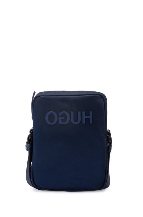 Reverse-logo reporter bag in nylon gabardine, Dark Blue