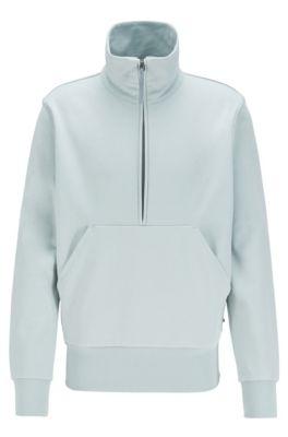 Relaxed-fit quarter-zip sweatshirt in cotton terry, Light Green