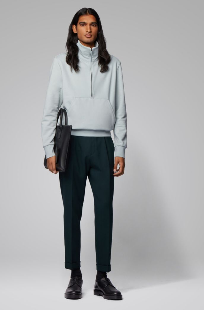 Relaxed-fit quarter-zip sweatshirt in cotton terry