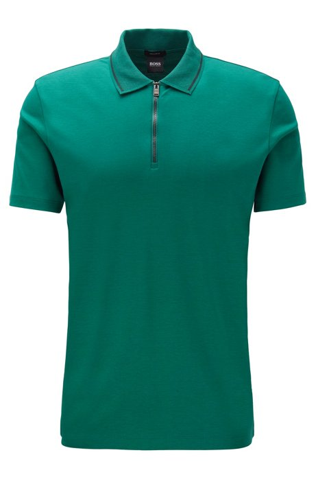 Regular-fit polo shirt in interlock cotton, Green
