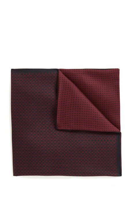 Silk pocket square with double-cloth construction, Dark Red