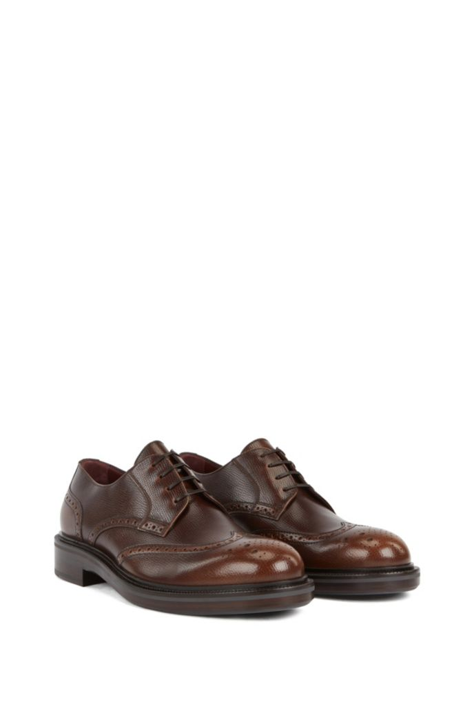 Italian-made Derby brogues in burnished leather