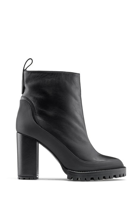 Block-heel booties in nappa leather with rubber-lug sole, Black