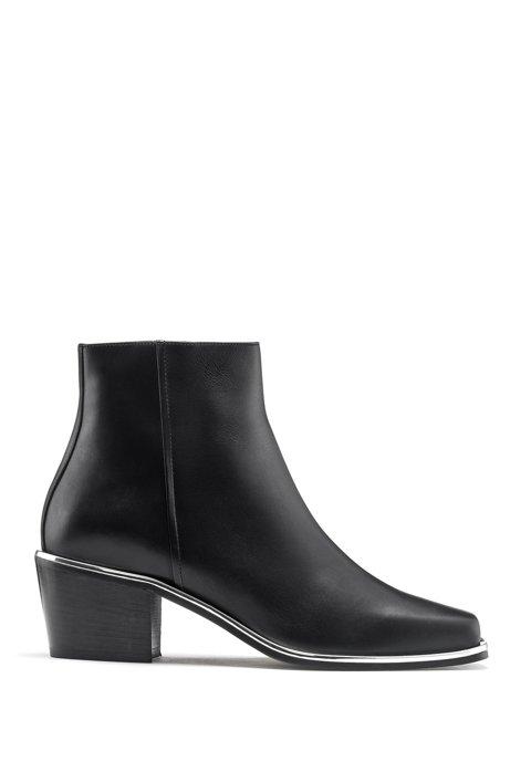 Ankle boots in Italian leather with metallic edging, Black