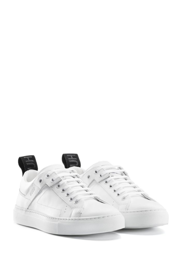 Lace-up sneakers in Italian leather with logo tape
