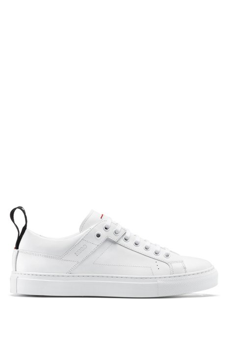 Lace-up sneakers in Italian leather with logo tape, White