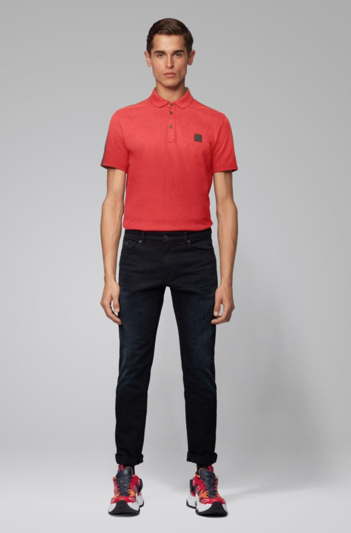 Color-block polo shirt in peached cotton jersey