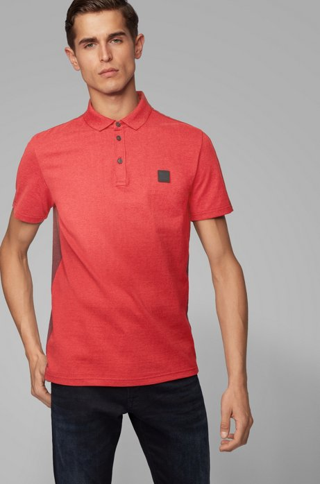 Color-block polo shirt in peached cotton jersey, Red