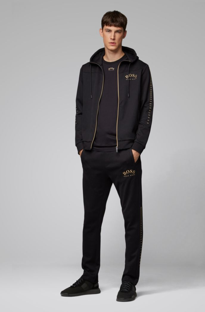 Cotton-blend zip-through hoodie with curved logo