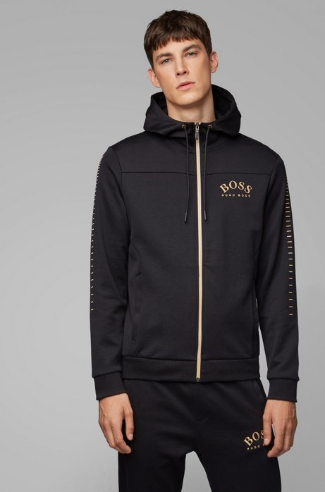 Cotton-blend zip-through hoodie with curved logo, Black