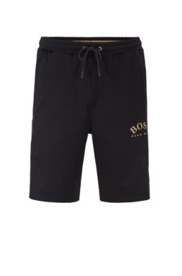 Slim-fit drawstring jersey shorts with curved logo, Black