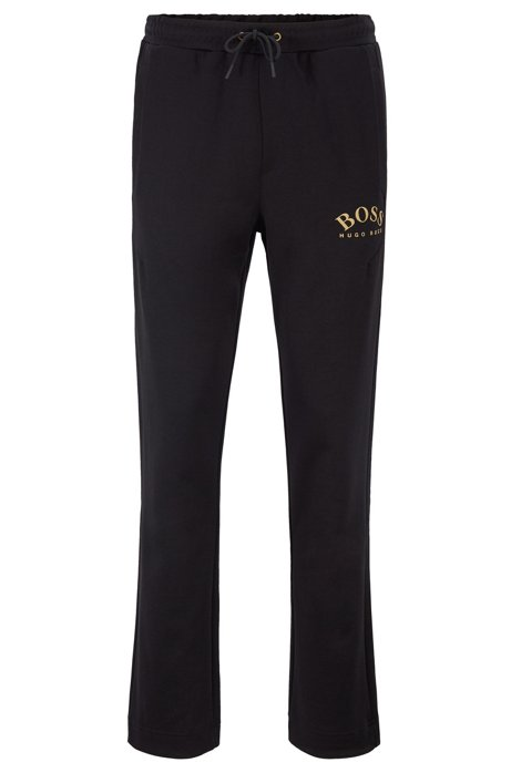 Slim-fit jogging pants with logo and open hems, Black
