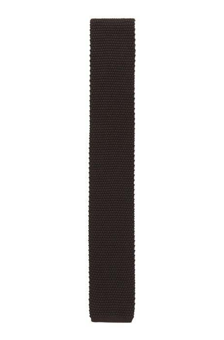 Italian-made silk tie in knitted piqué, Dark Brown