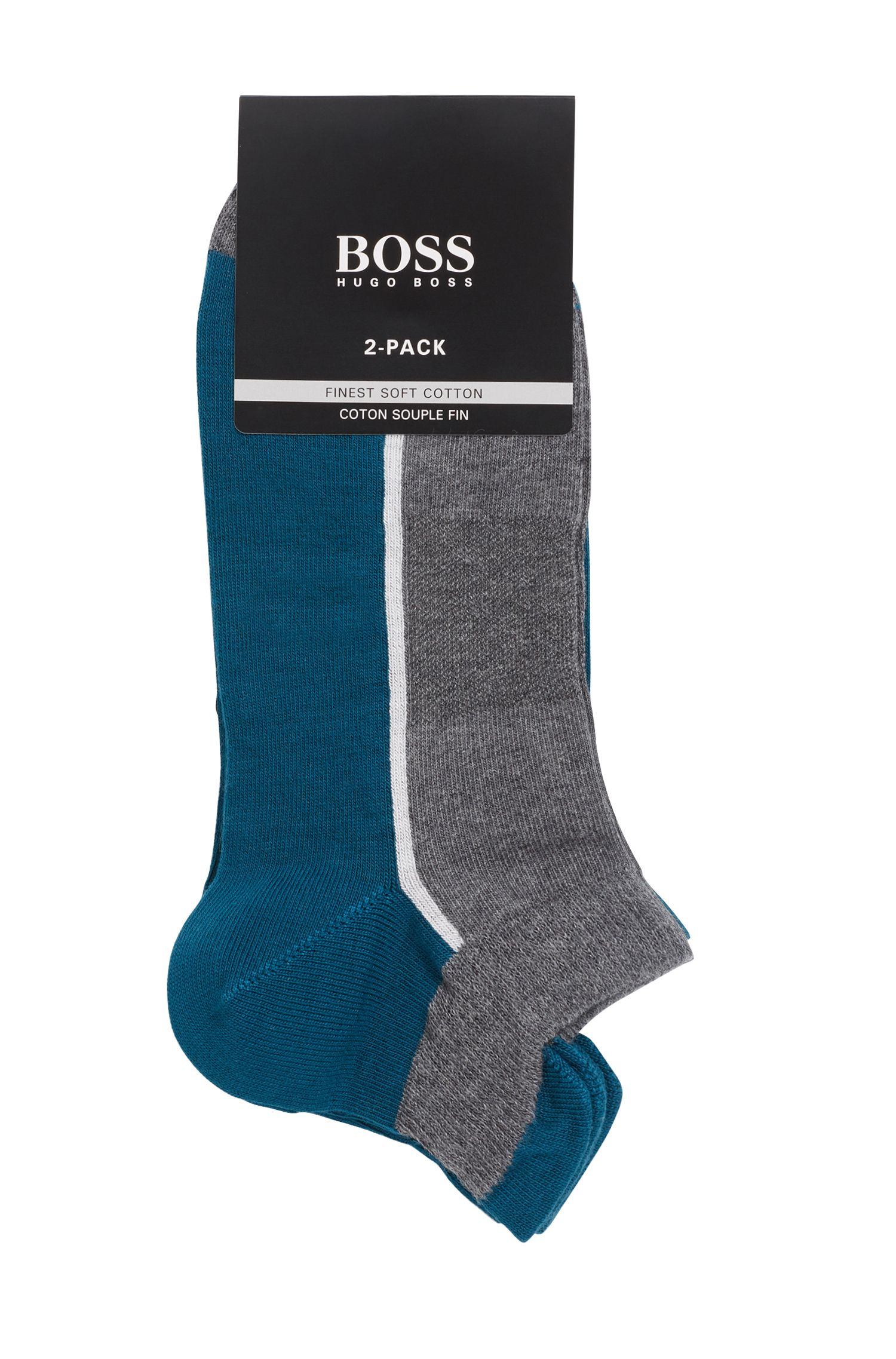 Two-pack of cotton-blend ankle socks, Grey