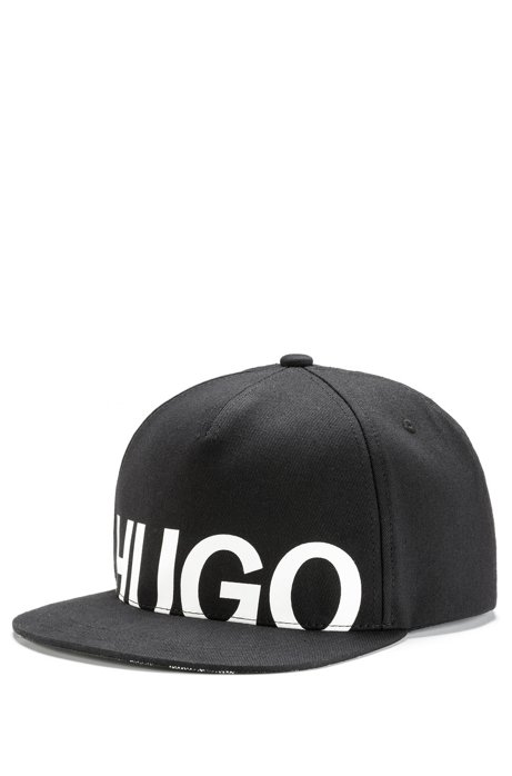 Cotton-twill cap with cropped logo print, Black