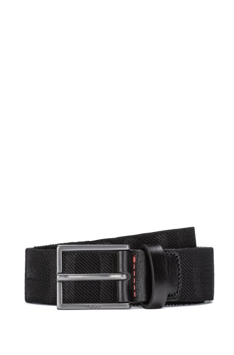 Italian-made belt in fabric and vegetable-tanned leather, Black