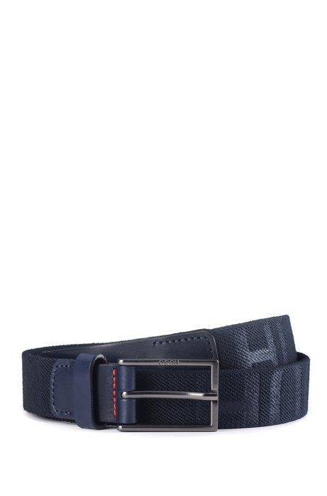 Italian-made belt in fabric and vegetable-tanned leather, Dark Blue