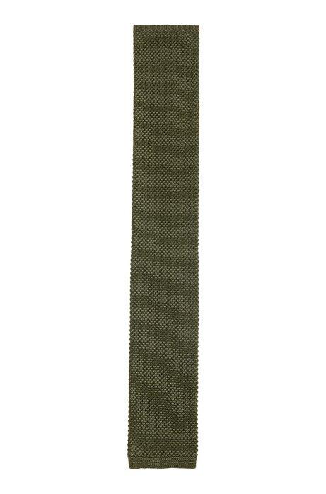 Silk tie in knitted piqué, Open Green