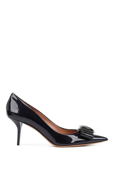 Heeled pumps in patent Italian leather with bow embellishment, Dark Blue