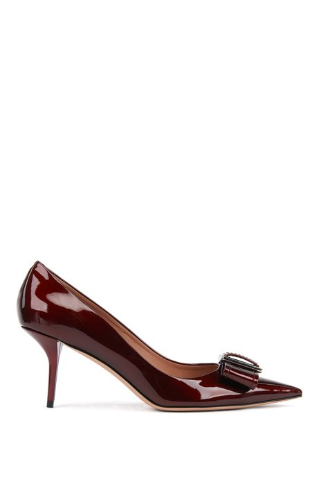 Heeled pumps in patent Italian leather with bow embellishment, Dark Red
