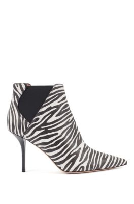 High-heeled ankle boots in zebra-print leather, Black