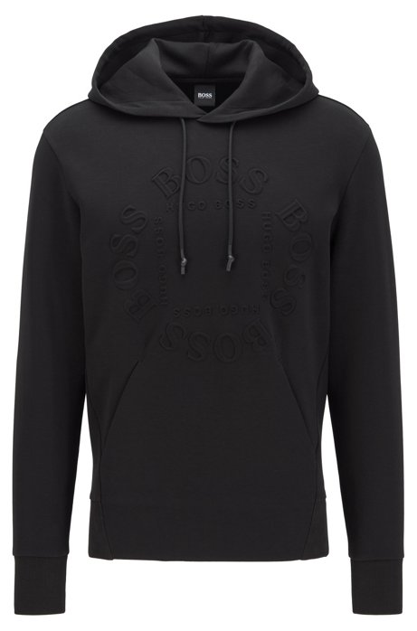Regular-fit hooded sweatshirt with circular logo, Black