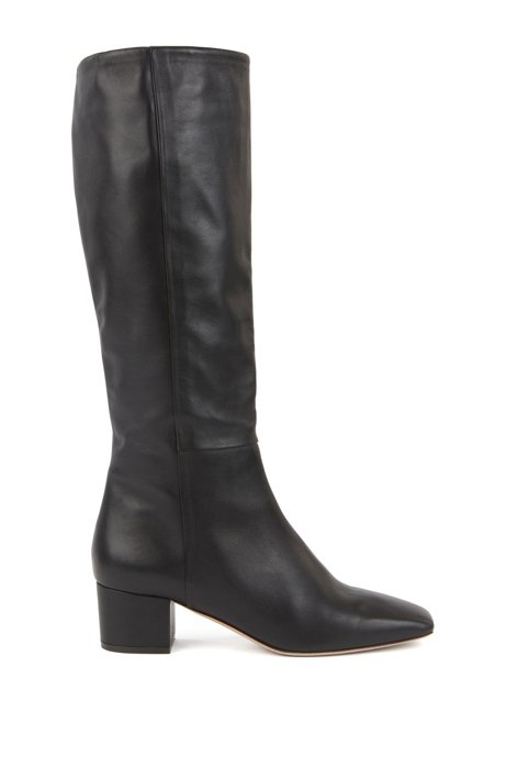 Knee-high boots in Italian leather with block heel, Black