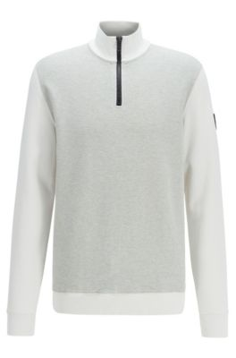 Zipper-neck sweatshirt with structured front, Natural