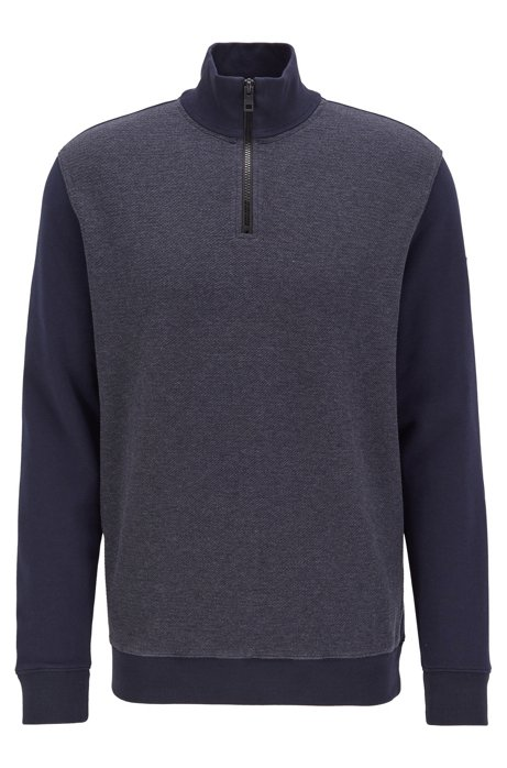 Zipper-neck sweatshirt with structured front, Dark Blue