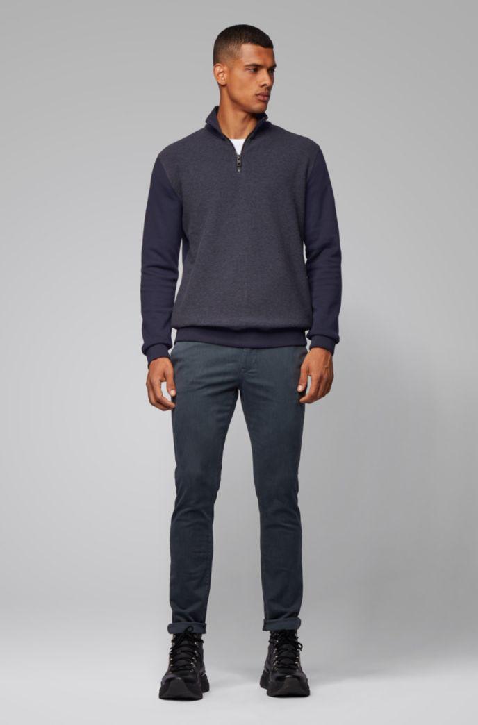 Zipper-neck sweatshirt with structured front