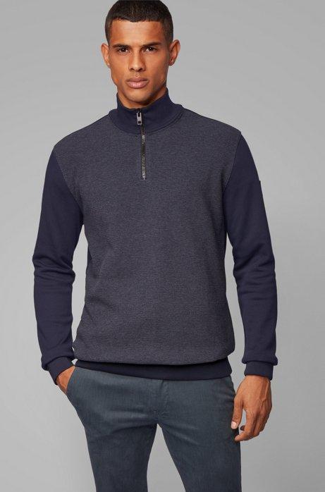 Zipper-neck sweatshirt with structured front, Dark Blue