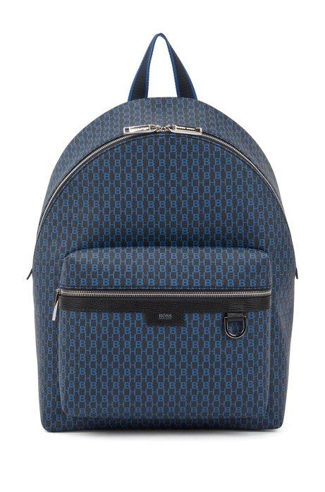 Monogram-print backpack in coated Italian fabric, Dark Blue