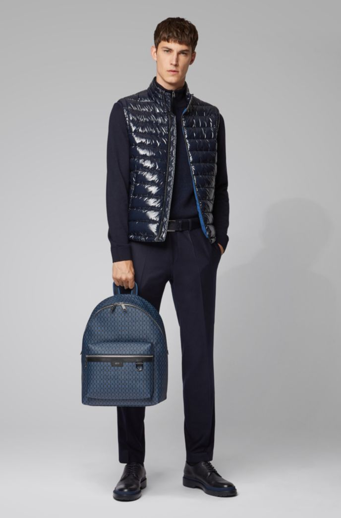 Monogram-print backpack in coated Italian fabric