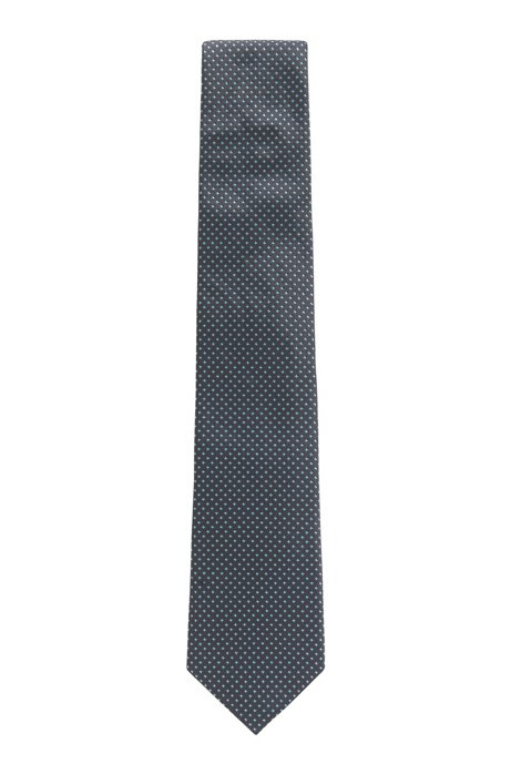 Italian-made silk tie with jacquard-woven micro pattern, Open Blue