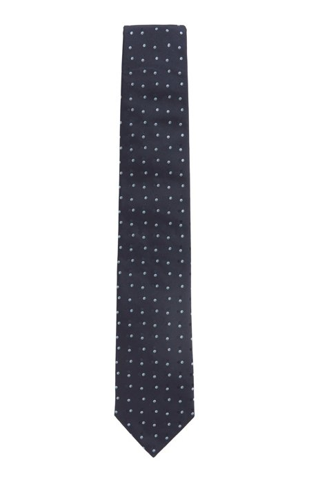 Italian-made patterned tie in silk jacquard, Dark Blue