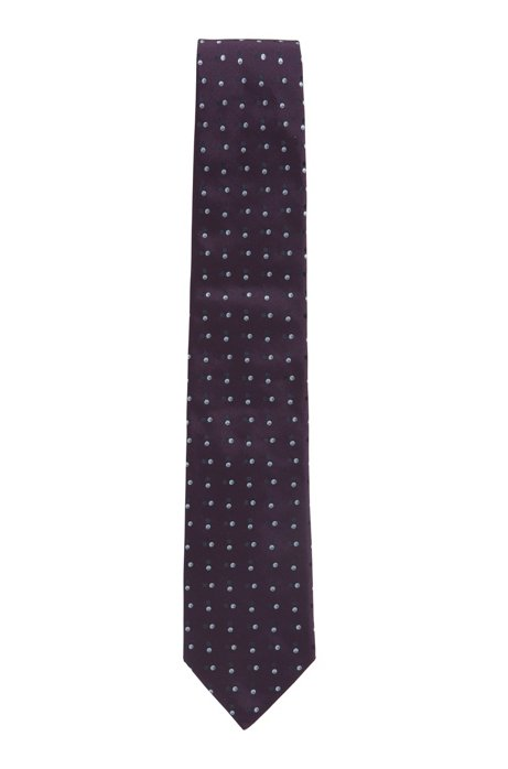 Italian-made patterned tie in silk jacquard, Dark Red