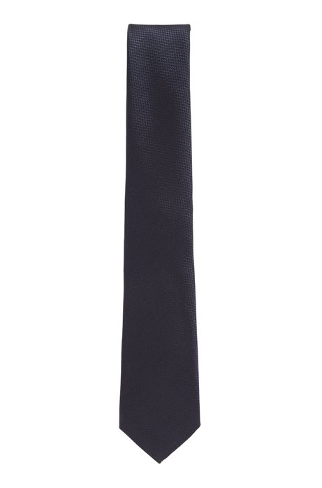 Italian-made tie in silk jacquard, Dark Blue