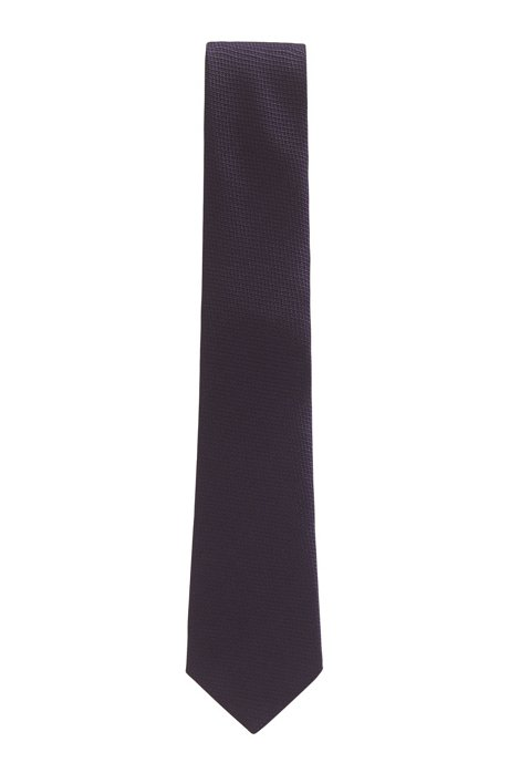 Italian-made tie in silk jacquard, Purple