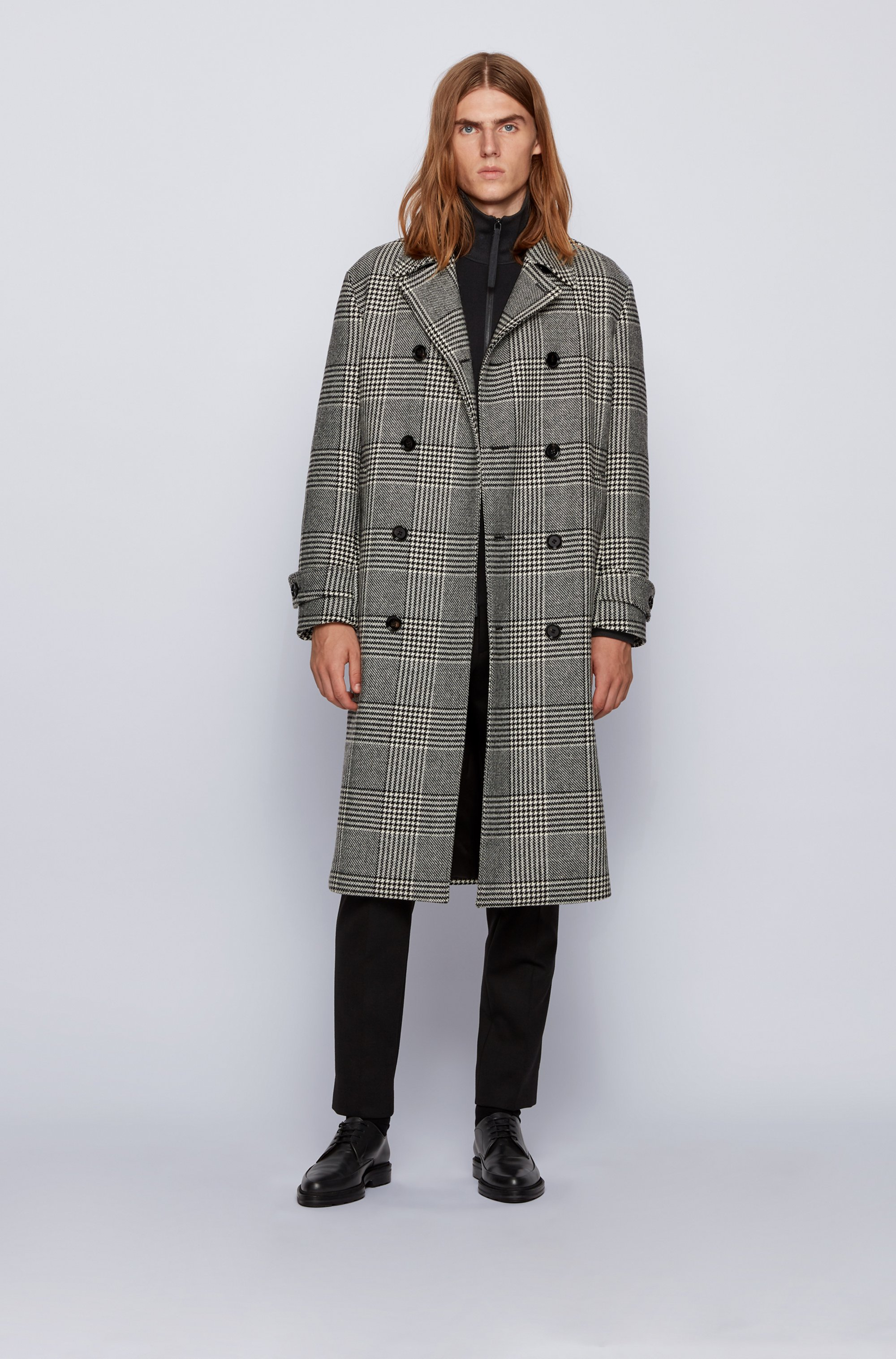 Regular-fit jacket in mixed-structure cotton