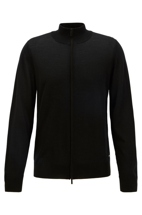 Knitted jacket in virgin wool and silk, Black