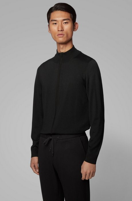 Knitted jacket in virgin wool and silk, Black
