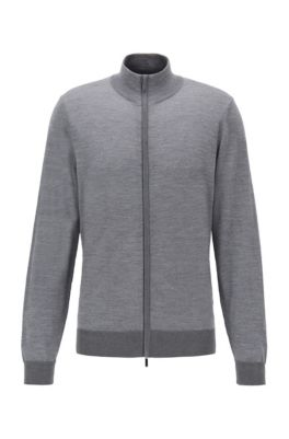 Knitted jacket in virgin wool and silk, Grey