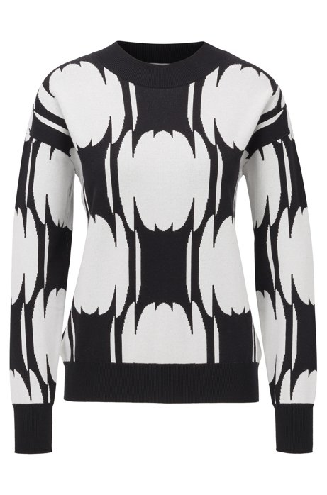 Relaxed-fit sweater with abstract pattern, Patterned