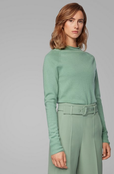 Regular-fit sweater with funnel neck in pure cashmere, Light Green