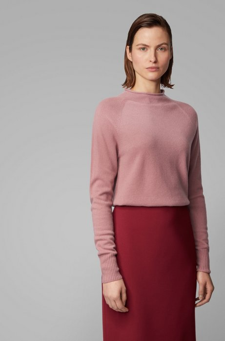 Regular-fit sweater with funnel neck in pure cashmere, light pink