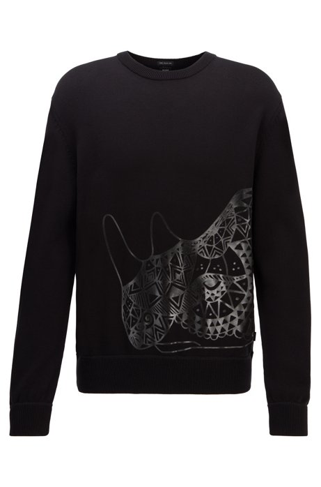 Knitted sweater in pure cotton with graphic print, Black