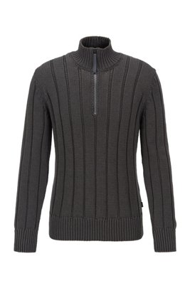 Wide-rib zip-neck sweater in mercerized cotton, Light Grey