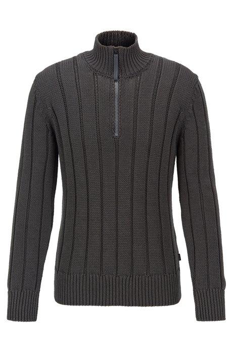 Wide-rib zip-neck sweater in mercerized cotton, Open Grey