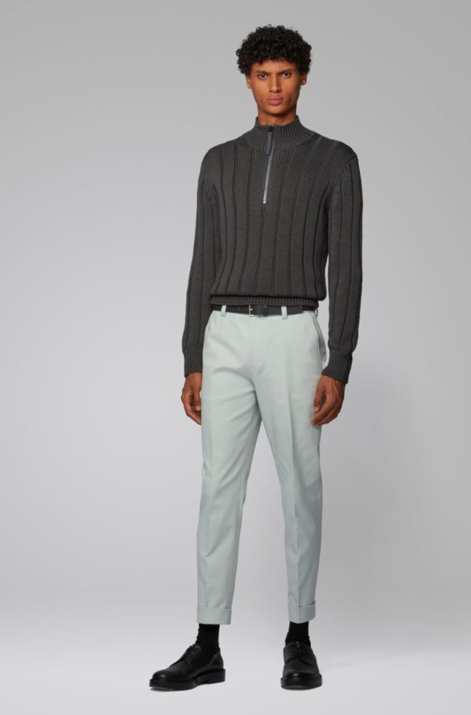 Wide-rib zip-neck sweater in mercerized cotton